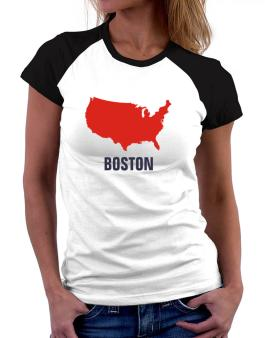 Boston - Usa Map Women Raglan T-Shirt