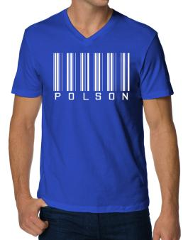 """ Polson - Single Barcode "" V-Neck T-Shirt"