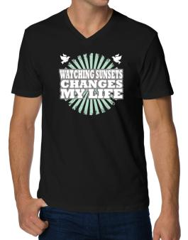 Watching Sunsets Changes My Life V-Neck T-Shirt