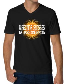 Watching Sunsets Is Wonderful V-Neck T-Shirt