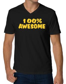 100% Awesome V-Neck T-Shirt