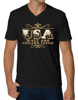 Usa Wall And Ceiling Fixer V-Neck T-Shirt