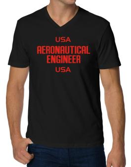 Usa Aeronautical Engineer Usa V-Neck T-Shirt