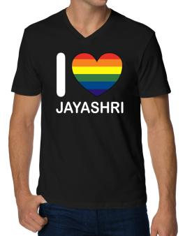 I Love Jayashri - Rainbow Heart V-Neck T-Shirt