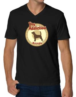 Dog Addiction : Beagle V-Neck T-Shirt