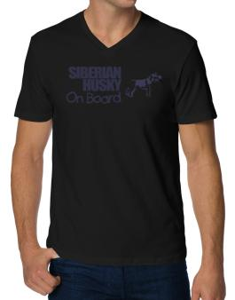 Siberian Husky On Board V-Neck T-Shirt