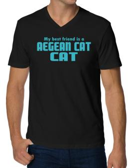 My Best Friend Is An Aegean Cat V-Neck T-Shirt