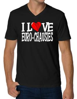 I Love Euro Chausies - Scratched Heart V-Neck T-Shirt