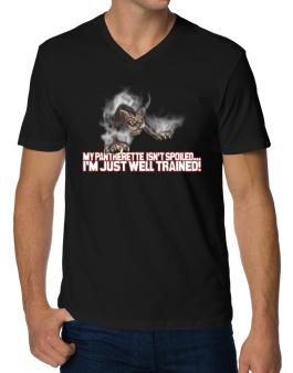 My Pantherette Isnt Spoiled, Im Just Well Trained. V-Neck T-Shirt
