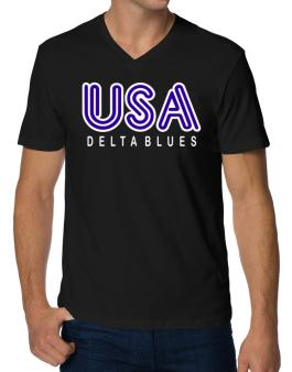 Usa Delta Blues V-Neck T-Shirt