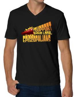 Support Your Local Episcopalians V-Neck T-Shirt
