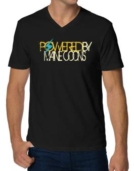 Powered By Maine Coons V-Neck T-Shirt