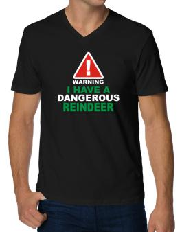 Warning! I Have A Dangerous Reindeer V-Neck T-Shirt
