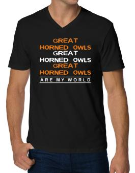 Great Horned Owl Are My World - Triple V-Neck T-Shirt