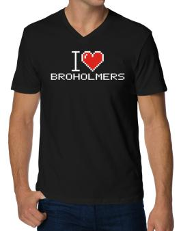 I love Broholmers pixelated V-Neck T-Shirt