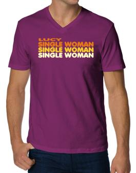 Lucy Single Woman V-Neck T-Shirt