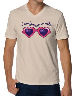 I Am Famous In Male V-Neck T-Shirt
