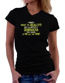 I Didnt Want To, Really! But That Bottle Of Genmaicha Was Looking At Me All The Time! T-Shirt - V-Neck-Womens