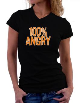 100% Angry T-Shirt - V-Neck-Womens