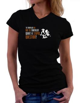 To Triathlon Or Not To Triathlon, What A Stupid Question! T-Shirt - V-Neck-Womens