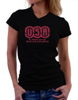 Usa Library Assistant T-Shirt - V-Neck-Womens