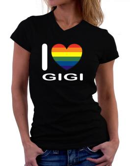 I Love Gigi - Rainbow Heart T-Shirt - V-Neck-Womens