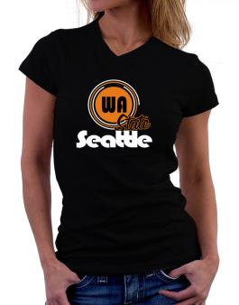 Seattle - State T-Shirt - V-Neck-Womens