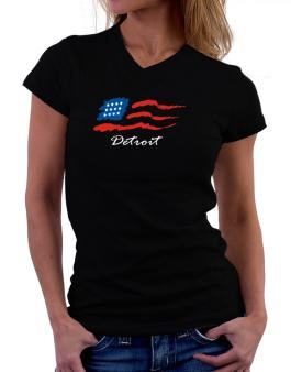 Detroit - Us Flag T-Shirt - V-Neck-Womens
