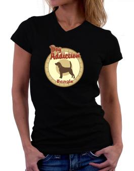 Dog Addiction : Beagle T-Shirt - V-Neck-Womens