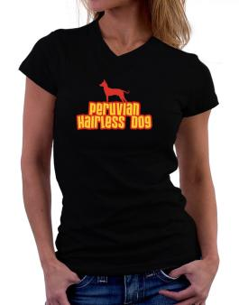 Breed Color Peruvian Hairless Dog T-Shirt - V-Neck-Womens