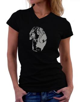 Beagle Face Special Graphic T-Shirt - V-Neck-Womens
