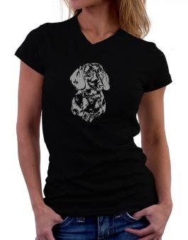 Dachshund Face Special Graphic T-Shirt - V-Neck-Womens