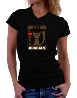Cat Lover - Russian T-Shirt - V-Neck-Womens