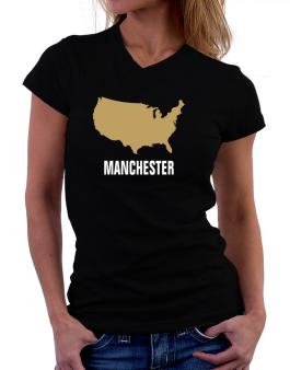Manchester - Usa Map T-Shirt - V-Neck-Womens