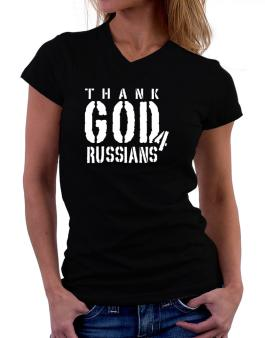 Thank God For Russians T-Shirt - V-Neck-Womens