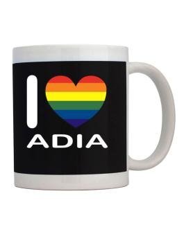 I Love Adia - Rainbow Heart Mug