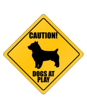 "Crossing Sign de "" Dogs at play Australian Terrier """