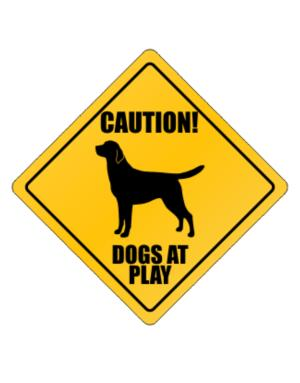 "Crossing Sign de "" Dogs at play Labrador """