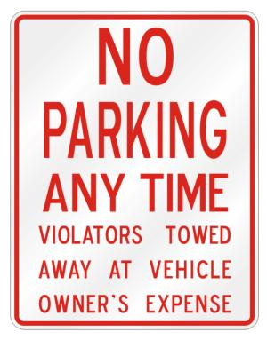 No Parking Any Time Parking Sign