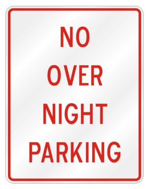 No Overnight Parking Parking Sign