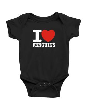 I Love Penguins Baby Bodysuit