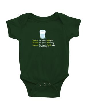 Optimist pessimist engineer glass problem Baby Bodysuit