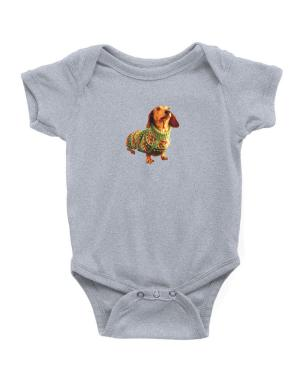 Dachshund christmas sweater Baby Bodysuit