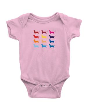 Colorful Dachshund Baby Bodysuit