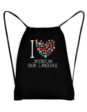 I love American Sign Language colorful hearts Sport Bag