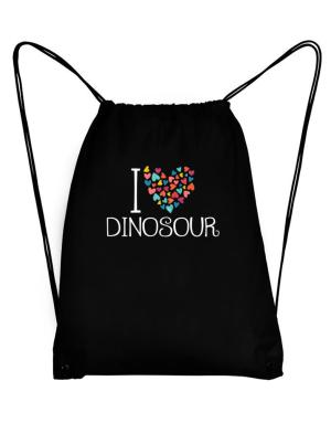 I love Dinosour colorful hearts Sport Bag