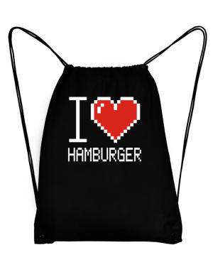 I love Hamburger pixelated Sport Bag