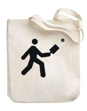 Pickleball Stickman Canvas Tote Bag