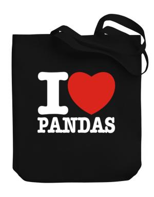 I Love Pandas Canvas Tote Bag