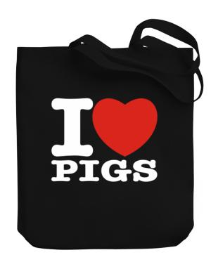 I Love Pigs Canvas Tote Bag